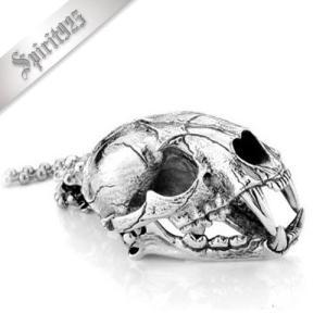 [お取り寄せ] メンズネックレス Smilodon-0340 スミロドンスカルペンダント シルバー925素材 ビッグタイプ(重さ約107G)|littlenifty-yhshop
