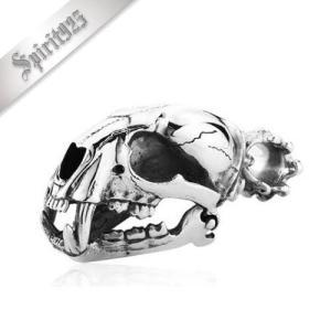 [お取り寄せ] メンズネックレス Smilodon-0341 スミロドンスカルペンダント シルバー925素材 シルバーアクセサリー ミドルタイプ(重さ約53G)|littlenifty-yhshop