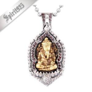 [お取り寄せ] メンズネックレス Ganesha-1469 ガネーシャペンダント ゴールドメッキ 聖天様 お守り シルバー925素材 ストーン|littlenifty-yhshop