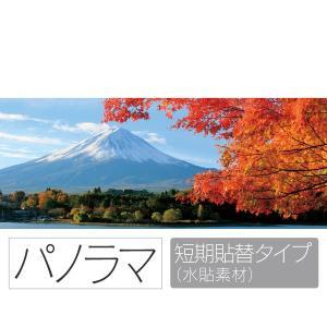 お風呂ポスター 紅葉越しに見る富士山 パノラマ 短期貼替タイプ(水貼素材) littleoasis