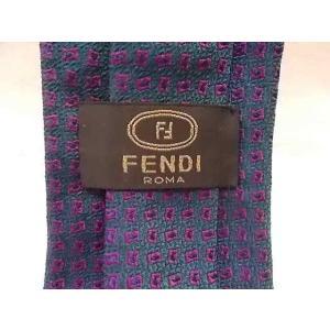 フェンディ 新品 FENDI ROMA ネクタイ イタリア製 シルク ネイビー系×パープル系のドット...
