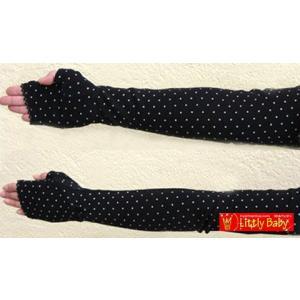 リボン付きドットUV超ロング手袋COLOR:BLACK|littlybaby