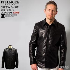 レザードレスシャツ レザージャケット 本革シャツ 最高級ラム羊革 全3色 新品 メンズ 本革ドレスシャツ 革ジャン シャツジャケット ウェスタンシャツ|liugoo
