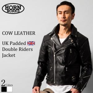 Horn Works 本革 UKパッドダブルライダースジャケット メンズ ホーンワークス 3568  ダブルライダース ライダースジャケット レザージャケット 革ジャン 黒|liugoo