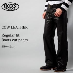 Horn Works 本革 レギュラーフィットブーツカットレザーパンツ メンズ ホーンワークス 3877  レザーパンツ 本革パンツ 本皮パンツ ライダースパンツ 本革ズボン|liugoo