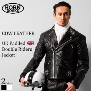 Horn Works 本革 UKパッドダブルライダースジャケット メンズ ホーンワークス 3578  ダブルライダース ライダースジャケット レザージャケット 革ジャン 黒|liugoo