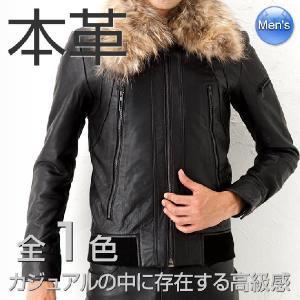 レザージャケット 革ジャン ライダースジャケット 高級ラム羊革 全1色 新品メンズ アウター 黒 本革ベジタブルレザーファー付ウィングネックライダース|liugoo