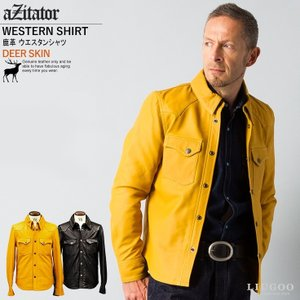 aZitator 本革 ディアスキンレザーウエスタンシャツ メンズ アジテーター SHT03A  レザーシャツ 本革シャツ 皮シャツ ウェスタンシャツ ドレスシャツ 革 AP|liugoo
