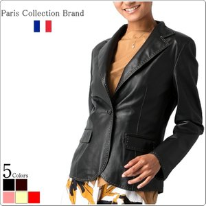 Paris Collection Brand 本革 テーラードジャケット レディース パリコレクションブランド 1300  レザージャケット 革ジャン 本革ジャケット 本革ブレザー|liugoo