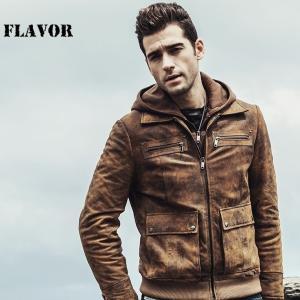 FLAVOR 本革 シングルフーデッドジャケット メンズ フレイバー M2017-129  軽くて柔かい! レザージャケット 革ジャン 皮ジャン 本革ジャケット 本皮ジャケット|liugoo