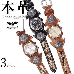 51f8329eaa コウモリコンチョウォッチ メンズ 本革 quitter QTW037CA 腕時計 ウォッチ 革ジャン・革製品 日本最大級の品揃え!本革限定(バッグ  手袋 ベルト 靴 ブーツ