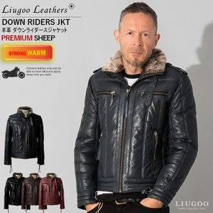 Liugoo Leathers 本革 ウィングネック ダウンライダース メンズ リューグーレザーズ WNG12A  ダウンジャケット レザージャケット|liugoo