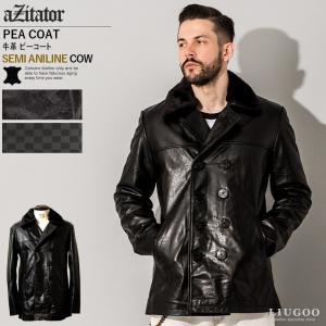 aZitator 本革 レザーピーコート メンズ アジテーター COT18A  レザージャケット/レザーコート|liugoo