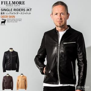 FILLMORE 本革 ディアスキンシングルライダースジャケット メンズ フィルモア SRS19A  レザージャケット/ブルゾン/アウター|liugoo