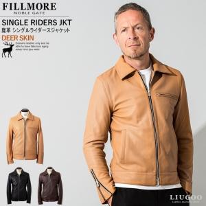 FILLMORE 本革 ディアスキンシングルライダースジャケット メンズ フィルモア SRY10A  レザージャケット/ブルゾン/アウター|liugoo