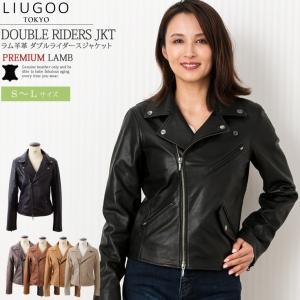 LIUGOO 本革 ダブルライダースジャケット レディース リューグー DRY08LA  ライダースジャケット レザージャケット|liugoo