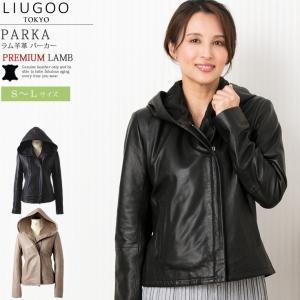 LIUGOO 本革 フーディージャケット レディース リューグー PRK02LA  レザージャケット パーカー ジャケット|liugoo
