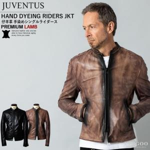 JUVENTUS 本革 手染めシングルライダースジャケット メンズ ユベントス KR001  レザージャケット/ブルゾン/アウター|liugoo