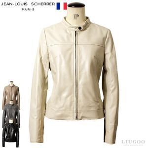 JEAN-LOUIS SCHERRER 本革 シングルライダースジャケット レディース ジャン=ルイ・シェレル 1153  本革レザージャケット フランス・パリコレブランド|liugoo