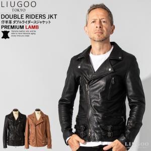 LIUGOO 本革 プレミアムラム ダブルライダースジャケット メンズ リューグー DRY06A  レザージャケット ブルゾン アウター|liugoo