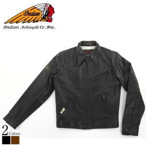 シングルライダースジャケット メンズ 本革 インディアンモーターサイクル OIM-6140  シングルライダース ライダースジャケット レザージャケット 革ジャン 黒|liugoo