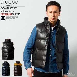 LIUGOO 本革 レザーダウンベスト メンズ リューグー LG7840  レザージャケット ダウン...