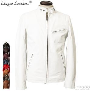 Liugoo Leathers 本革 シングルライダースジャケット メンズ リューグーレザーズ SRS01A|liugoo