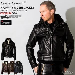 Liugoo Leathers 本革 高機能防寒仕様襟ボアハイネックシングルライダースジャケット メンズ リューグーレザーズ SRYCW01C  革ジャン 黒 レザージャケット AP|liugoo