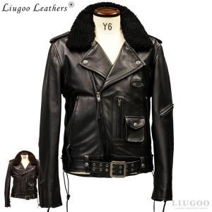Liugoo Leathers 本革 高機能防寒仕様 襟ボアDポケットダブルライダースジャケット メンズ リューグーレザーズ DRD02C  レザージャケット バイカーAP|liugoo