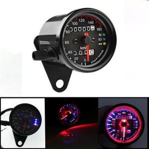 スピードメーター 機械式 DC 12V 160km/h バイク用 汎用 メーター LED バックライ...
