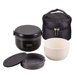 保温 弁当箱 540ml 茶碗 約 2.7 杯分 バッグ付 ブラック 特盛 どんぶり ランチ ほかどん HB-1314 パール金属|livingheart