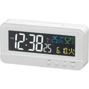 電波目覚まし時計 MAG  カラーハーブ 4カラーデジタル液晶表示 ホワイト T-684WH|livingheart
