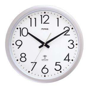 電波掛時計 MAG スタンダード&オフィスクロック ウェーブ42 0 銀メタリック W-462 SM|livingheart
