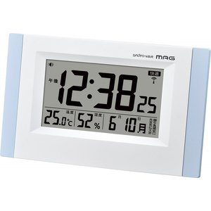 電波目覚まし時計 MAG  エアサーチブリックス 置き掛け兼用 環境管理 六曜表示 ライトブルー W-660LBU|livingheart