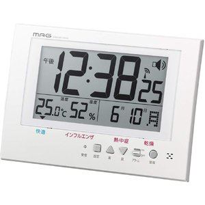 置き時計 電波 デジタル アラート 環境目安 カレンダー 表示 置き掛け兼用 ホワイト W-738WH-Z MAG(マグ) livingheart