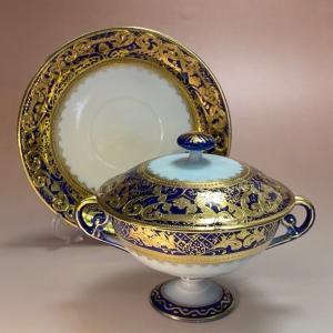 オールドノリタケ 金盛 コバルト藍線帯華装飾紋 スープカップ&ソーサー 蓋つき|livingts