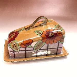 オールドノリタケ ラスター彩 花紋 バターケース カバードボックス|livingts