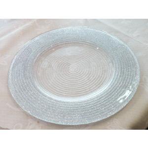 IVV イタリア製 ガラスプレート 皿 HELIX ヘリックス 31cm シルバー (2289/5)|livingts