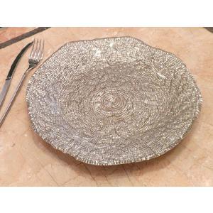 IVV イタリア製 大皿 ガラス皿 Diamante ディアマンテ シャンパンゴールド 28cmプレート(5530_3)|livingts