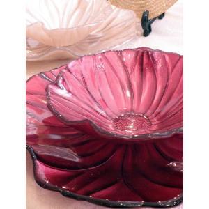 IVV イタリア製 ガラスプレート 皿&ガラスボールセット MAGNOLIA(マグノリア) パールレッド|livingts