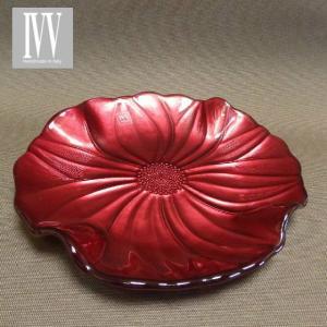 IVV イタリア製  ガラスプレート 皿 MAGNOLIA(マグノリア)22cm パールレッド|livingts