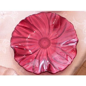 IVV イタリア製 ガラスプレート 皿 MAGNOLIA(マグノリア)28cm パールレッド|livingts