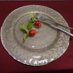 IVV イタリア製 大皿 ガラス皿 Diamante ディアマンテ シャンパンゴールド 32cmプレート(6778_4)|livingts