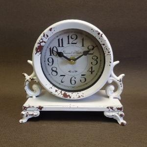 アンティーク調置時計 アイアン製 ホワイト|livingts