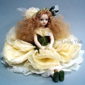 若月まり子作品 エルフィンフローリー ラナンキュラス(オフ・ホワイト) エルフィンフローリー 創作人形(ビスクドール)a-003-2|livingts