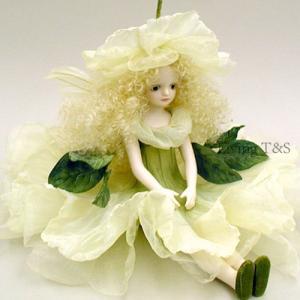 若月まり子作品 エルフィンフローリー ペチュニア(オフ・ホワイト)エルフィンフローリー 創作人形(ビスクドール)a-004-3|livingts