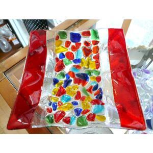 ガラス皿 イタリアのデザイナーが手がけたハンドメイドアートプレート 手作りプレート ハンドメイド 選べる6種類 14cm×14cm|livingts|02