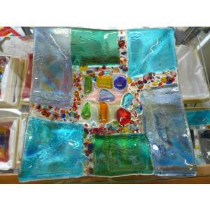 ガラス皿 イタリアのデザイナーが手がけたハンドメイドアートプレート 手作りプレート ハンドメイド 選べる6種類 14cm×14cm|livingts|05