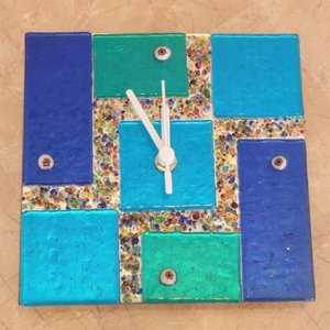 ガラス製掛け時計 ベネチアガラス ウォールクロック 電池式 |livingts