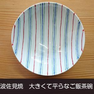 白山陶器 平茶碗(赤×緑×紺 ストライプAI3)波佐見焼 飯碗|livingts